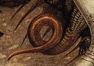 Pisanello dragon tail detail -Apparition_of_the_Virgin_to_Sts_Anthony_Abbot_and_George.jpg