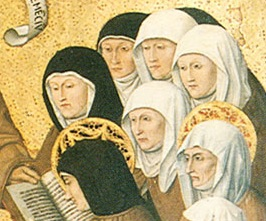 Colantonio, c.1445, detail of Clares and Tertiaries receiving the rule from S. Bernardino.jpg