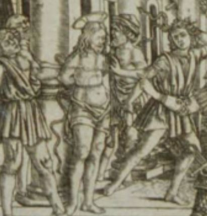 The Judgment Hall of Pilate, 1465–85, attributed to Baccio Baldini. detail of Christ tormented.JPG